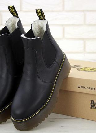 Мартинсы dr. martens platform chelsea black женские зимние ботинки мартинс