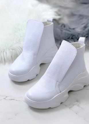Кожаные ботинки хайтопы белого цвета,белые ботинки хайтопы из натуральной кожи.