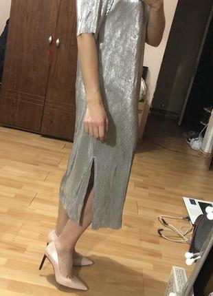 Серебряное платье asos, новогоднее платье, платье миди, коктейльное платье