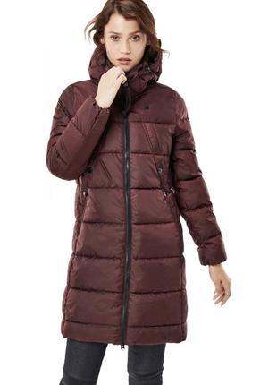 Длинная зимняя  марсаловая куртка /бордовый пуховик g-star / зимняя куртка дутик