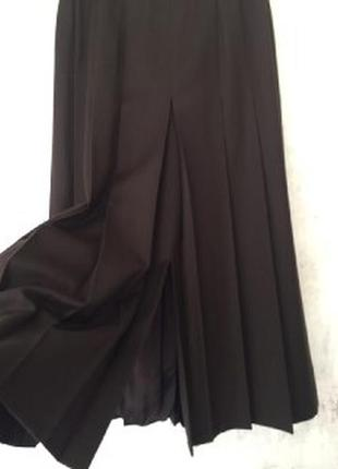 Юбка в складку, шерстяная юбка, миди, 100% шерсть, дабл-шлица
