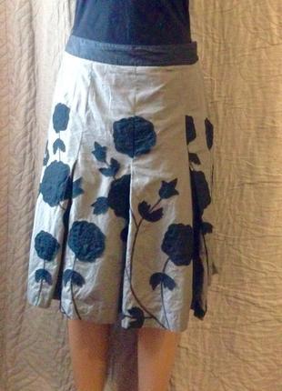 Шикарная юбка миди складки цветы размер 36 или 8