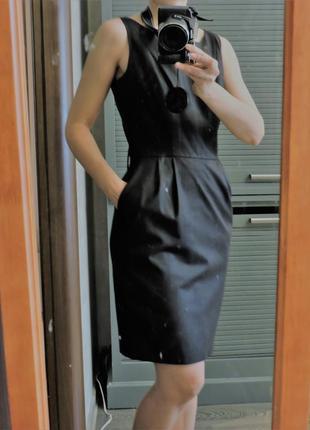 Платье-сарафан в деловом стиле темно серого цвета