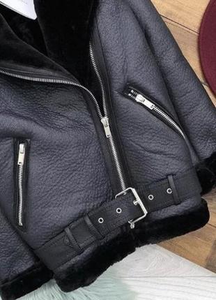 Куртка косуха дубленка авиатор в байкерском стиле zara2 фото