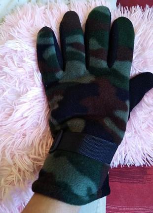 💠флисовые камуфляж, теплые перчатки