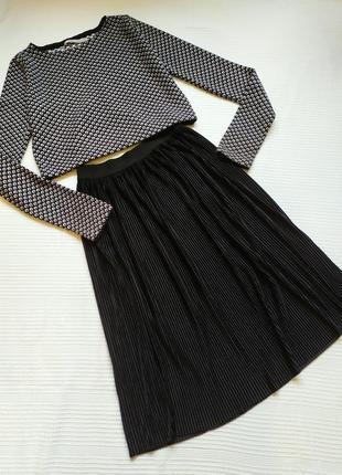 Велюровая юбка плиссе миди бархатная / велюрова спідниця плісе