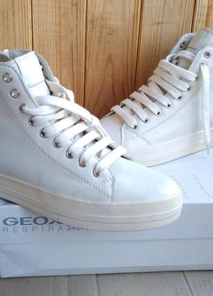 Стильные дышащие кожаные высокие кеды geox новые ботинки