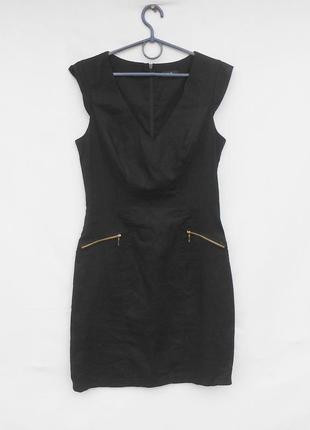 Летнее черное льняное платье футляр 🌿