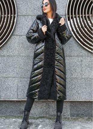 Женское зимнее длинное стеганое  пальто