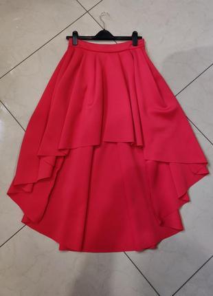 👑♥️final sale 2019 ♥️👑  красная асимметричная мини юбка со шлейфом и складками