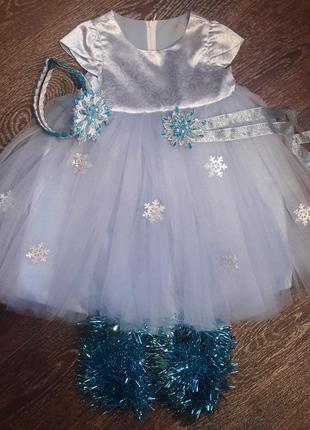 Новогодние нарядное платье +обруч повязка на руку чешки