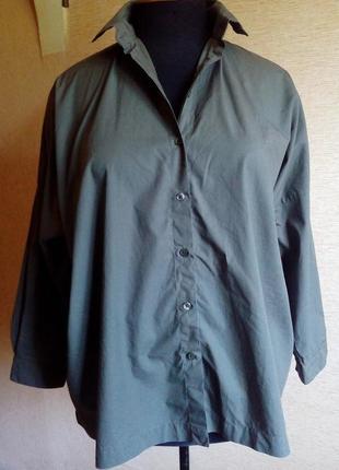 Рубашка цвета хаки в стиле бохо на 50/58 размер (оверсайз)