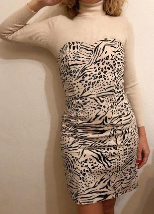 Сукня футляр / платье бюстье в животный принт