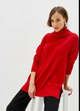 Шерстяный (100%) тонкий свободный свитер, пуловер
