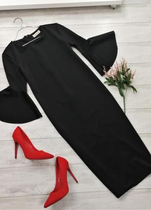 Прямое черное платье с красивым рукавом  в105815 размер 12 (m)