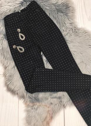 Классические зауженные брюки в горошек papya