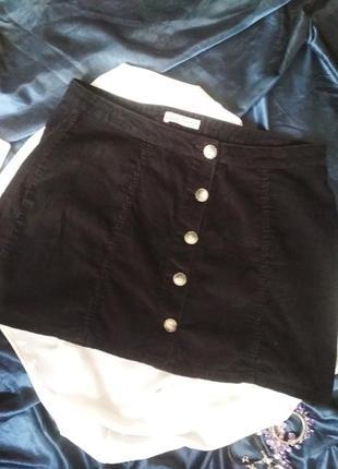 Чёрная вельветовая мини юбка на поговицах большого размера