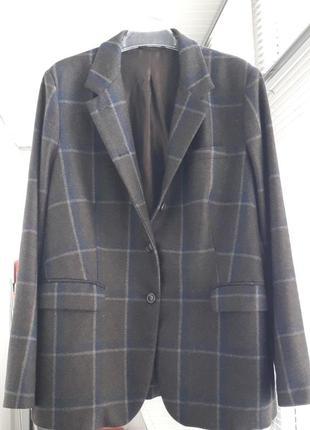 Шерстяной пиджак в клетку италия большой размер