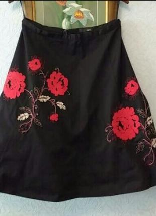 Эффектная пышная юбка с вышивкой аппликацией,100% хлопок