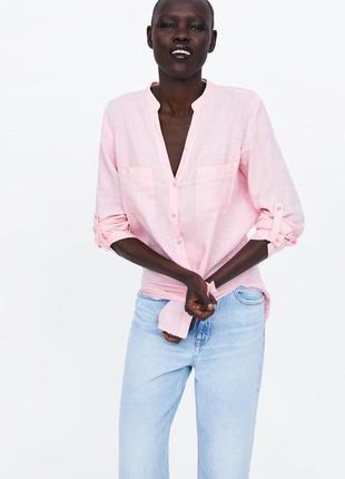 Zara розовая рубашка с карманами , лён, м