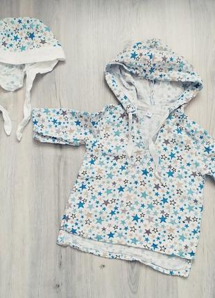 Муслиновая рубашка  и панамка для малыша.