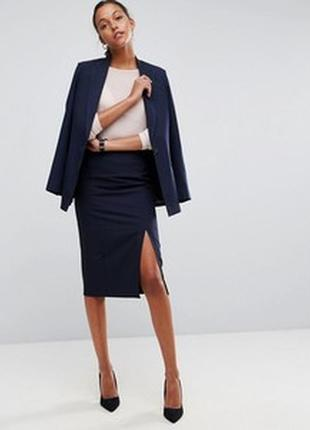 Классическая атласная юбка-карандаш миди с разрезом классическая футляр