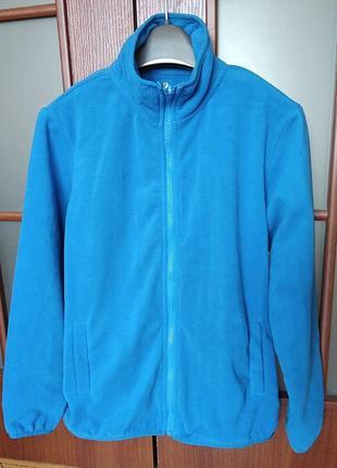 Суперяркая синяя флисовая куртка, флиска s/m утепленные рукава