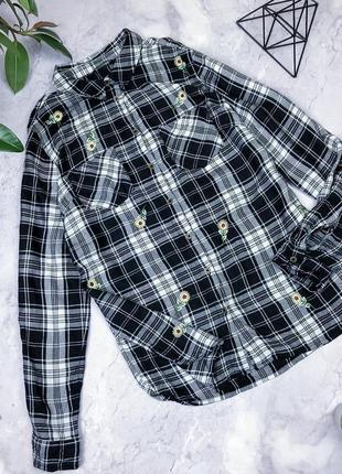 Натуральная рубашка в клетку с вышивкой george