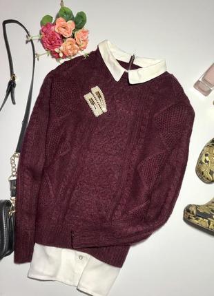 Тёплый свитер с имитацией рубашки