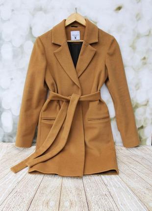 Трендовое шерстяное пальто под пояс в самом модном цвете сезона camel,xs,78% шерсти