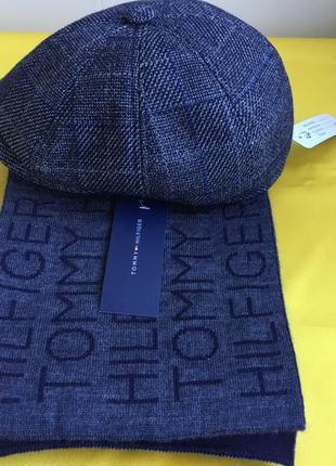 Комплект кепка мужская восьмиклинка и шарфик джинс