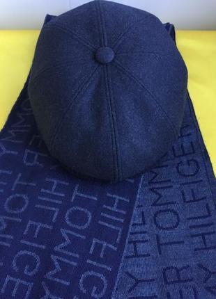 Комплект кепка мужская восьмиклинка и шарфик цвет джинс