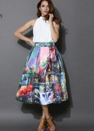 Невероятной красоты 👑 волшебная сказочная пышная миди юбка 3d пейзаж в стиле zara asos