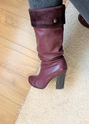 Kluchini итальянские бордовые сапоги из натуральной кожи кожаные сапоги боты на каблуке