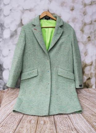 Фирменное пальто samange италия с яркой подкладкой прямого кроя over size,шерсть и шелк