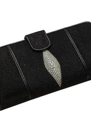Вертикальное портмоне из кожи морского ската ekzotic leather черный (stw23)