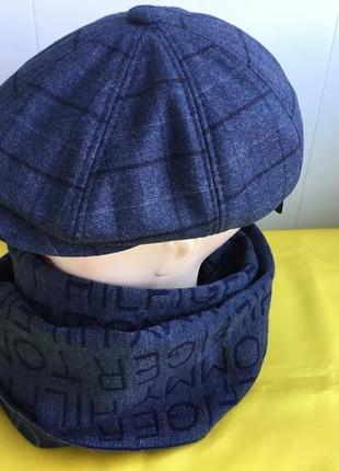 Комплект мужской кепка и шарфик джинс