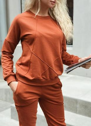 Стильный женский спортивный костюм из турецкой трехнитки петли, кирпичный цвет
