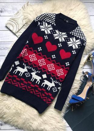 Платье свитер тёплое новогоднее с оленями club l