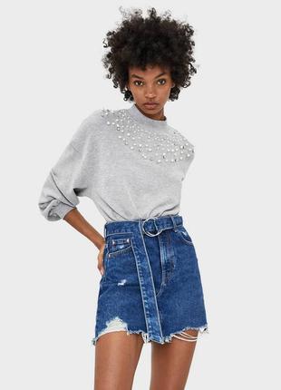 Шикарная джинсовая юбка трапеция с рваностями и поясом