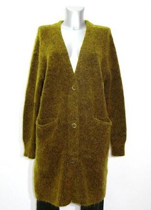 Стильный женский   длинный теплый шерстяной кардиган с карманами zara