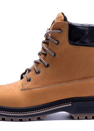 Мужские зимние кожаные ботинки timberlend crazy shoes limone new реплика