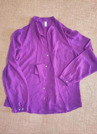 Блузка рубашка легкая длинный рукав бантик