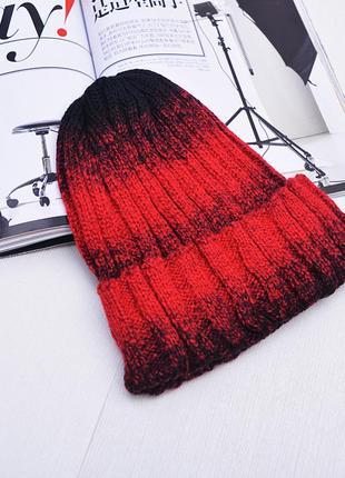 13-49 яркая оригинальная вязаная шапка