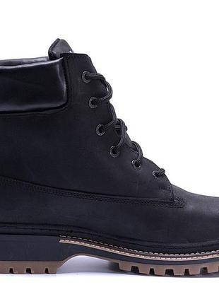 Мужские зимние кожаные ботинки timberlend crazy shoes black реплика