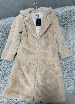 Шуба искусственная эко мех искусственный пальто кролик бежевая
