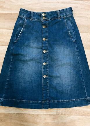 Классная джинсовая юбка с высокой посадкой