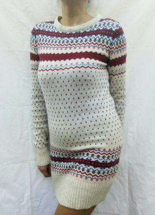 Тёплое шерстяное платье туника длинный вязаный свитер atmosphere