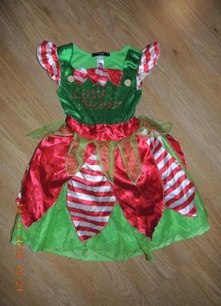 Платье санта ельфа 6-8 лет новогоднее карнавальное