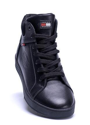 Мужские зимние кожаные ботинки tommy hilfiger black (реплика)